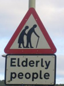 Photograph of road sign for Elderly people crossing